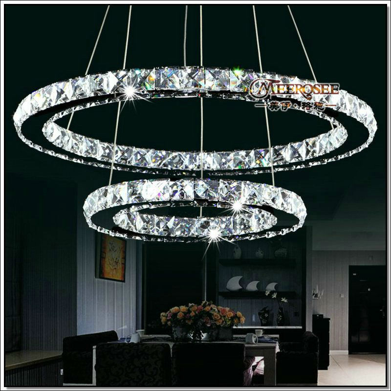 Luxury led crystal chandelier light fixture modern led rings lusters luxury led crystal chandelier light fixture modern led rings lusters lamp with mirror finish stainless steel meerosee md8825 in chandeliers from lights aloadofball Choice Image