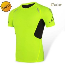 NEW 2016 Summer Elastic Tight Bodybuilding Fitness Base Layer Thermal Muscle Compression Short Sleeve Top T Shirt Men 17 Color