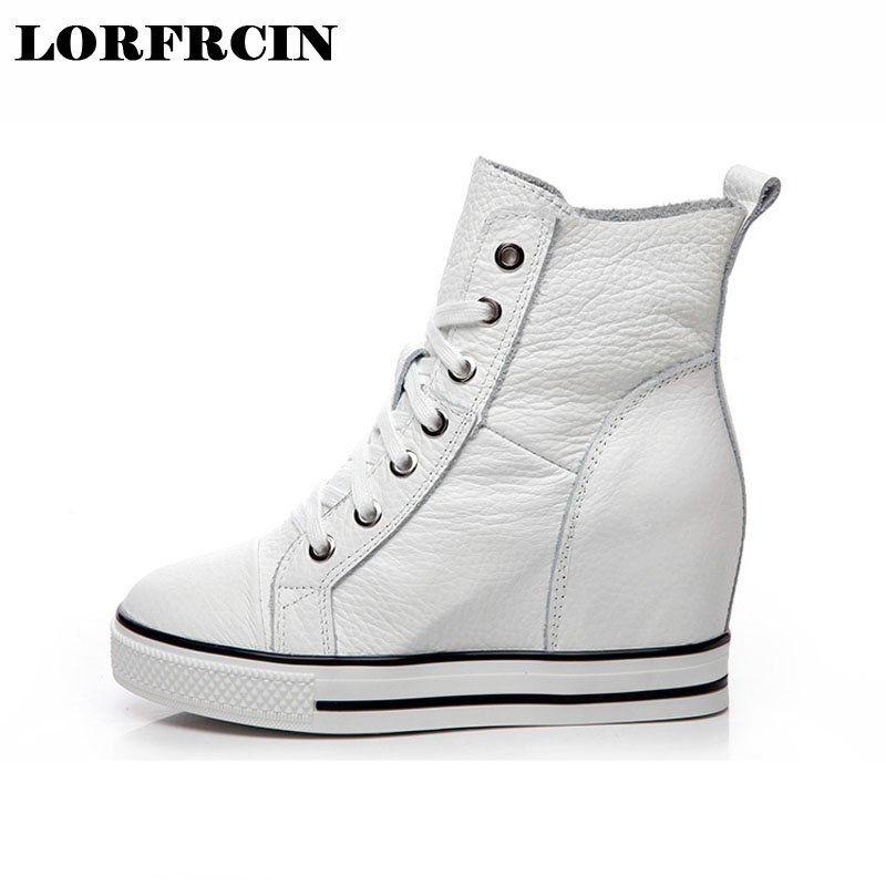 LORFRCIN Super High Heels Height Increased Wedges Women Shoes Lace Up Women Pumps Genuine Leather Platform Shoes Woman 2018