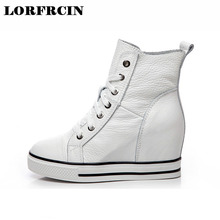 LORFRCIN Super High Heels Height Increased Wedges Women Shoes Lace Up Women Pumps Genuine Leather Platform Shoes Woman 2017