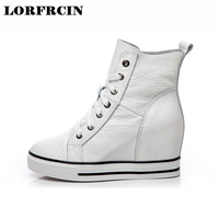 LORFRCIN Super High Heels Height Increased Wedges Women Shoes Lace Up Women Pumps Genuine Leather Platform