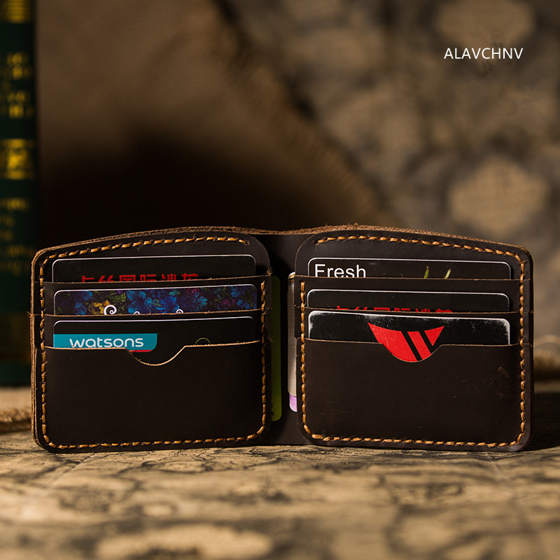 ALAVCHNV men and women handmade retro wallet cowhide mad horse two short copy of the short