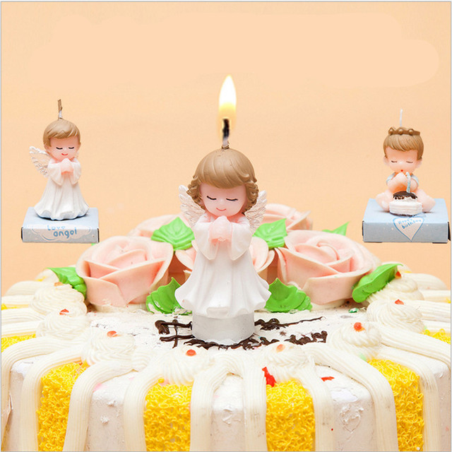 Cute Baby Angel Boy And Girl Birthday Cake Candle Birthday Party