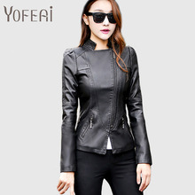 MIEC NEW 2016 Women Jackets Fashion Spring Leather PU Jackets Short Motorcycle Coat Padded Parkas Black Plus Size