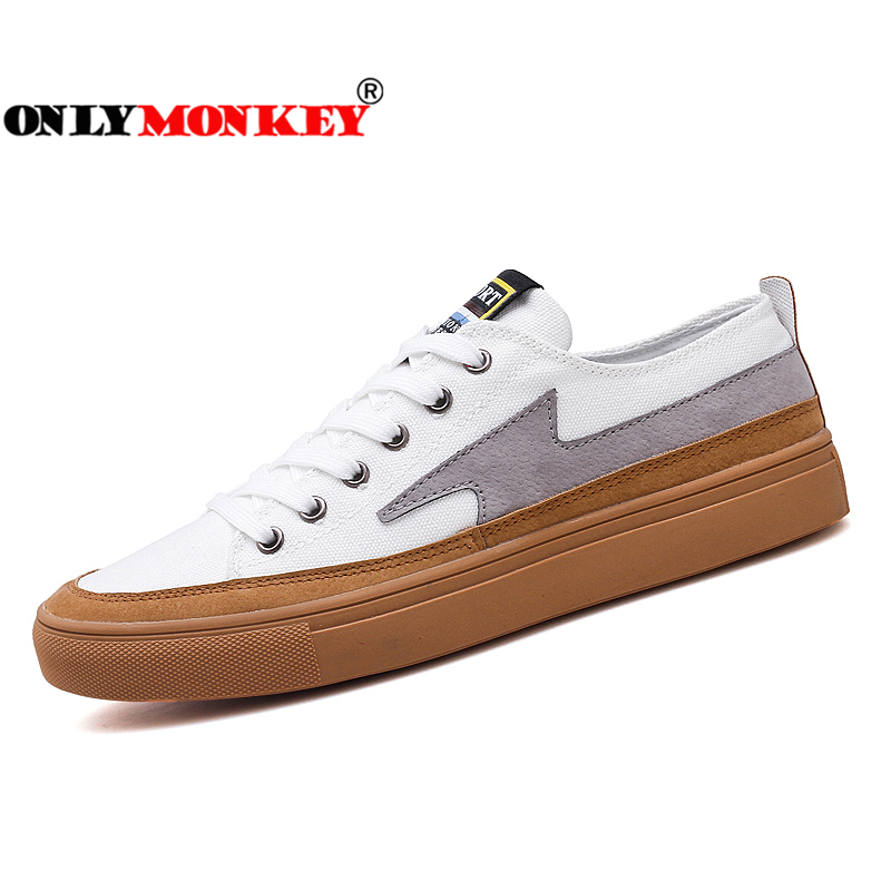 ONLYMONKEY Lace-Up Men Vulcanize Shoes Fashion Design Men Casual Shoes Comfortable Footwear High Quality Casual Sneakers Men simple men s casual shoes with white and lace up design page 5