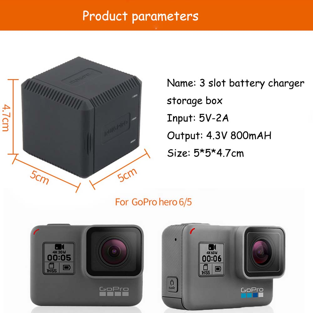 E3633-3 Slot Battery Charger for Gopro6-2