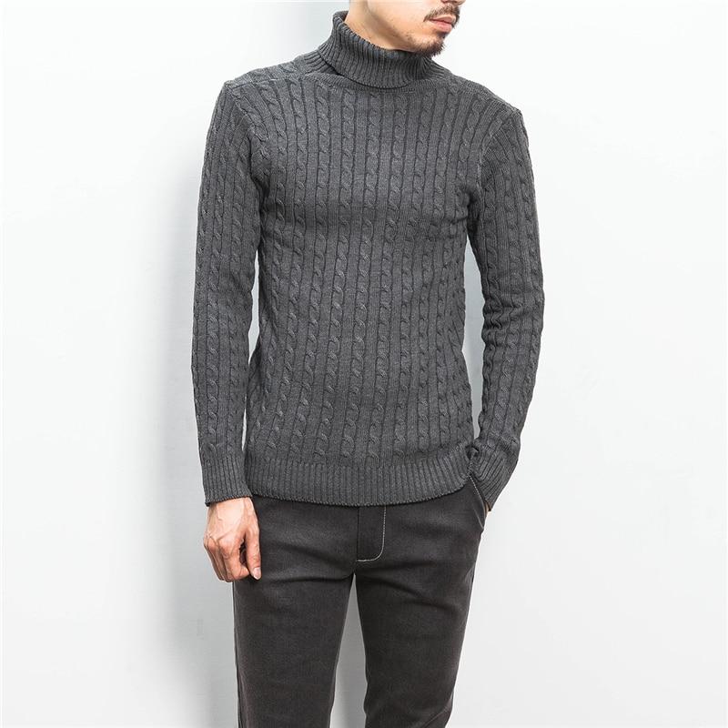 2018 Winter New Men's Fashion Boutique Pure Color Turtleneck Sweater / Men's High Quality Large Size Leisure Turtleneck Sweater
