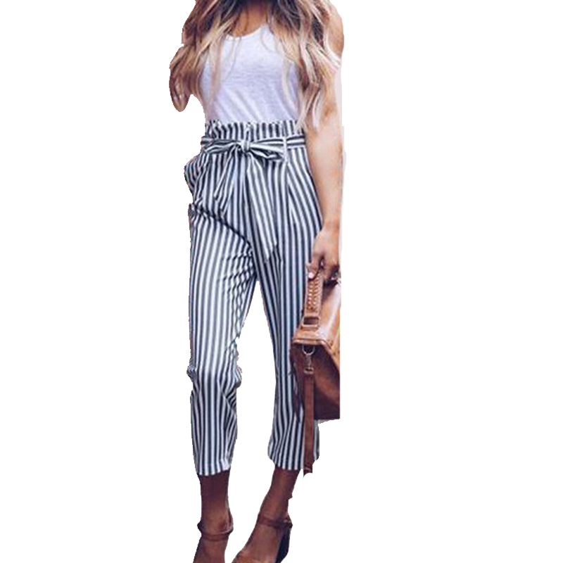 Doyerl Striped High Waisted Pants Women Trousers 2018 Summer Elegant Casual Bow Tie Up Sash Pockets Pants Slacks Palazzo Pants