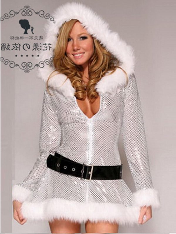 e436d2ba06186 US $23.79 15% OFF|New Silver Sequins Hooded Santa Claus Xmas Adult Women  Party Dress Sexy Unique Christmas Costume Cosplay Costume Warm Mini  Dress-in ...