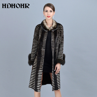 HDHOHR 2019 High Quality Women Knitted Mink Fur Coats Fox Fur Sleeve Fashion Thick Natural Mink Jackets Winter Warm Fur Parkers