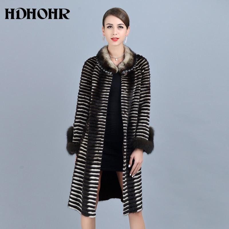 HDHOHR 2019 haute qualité femmes tricoté vison fourrure manteaux renard fourrure manches mode épais naturel vison vestes hiver chaud fourrure Parkers