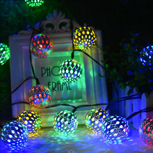 10/20 LED Moroccan Ball Solar String Lights Fairy Globe Waterproof Lantern Light Decorative Lighting for Home Garden Party Decor(China)