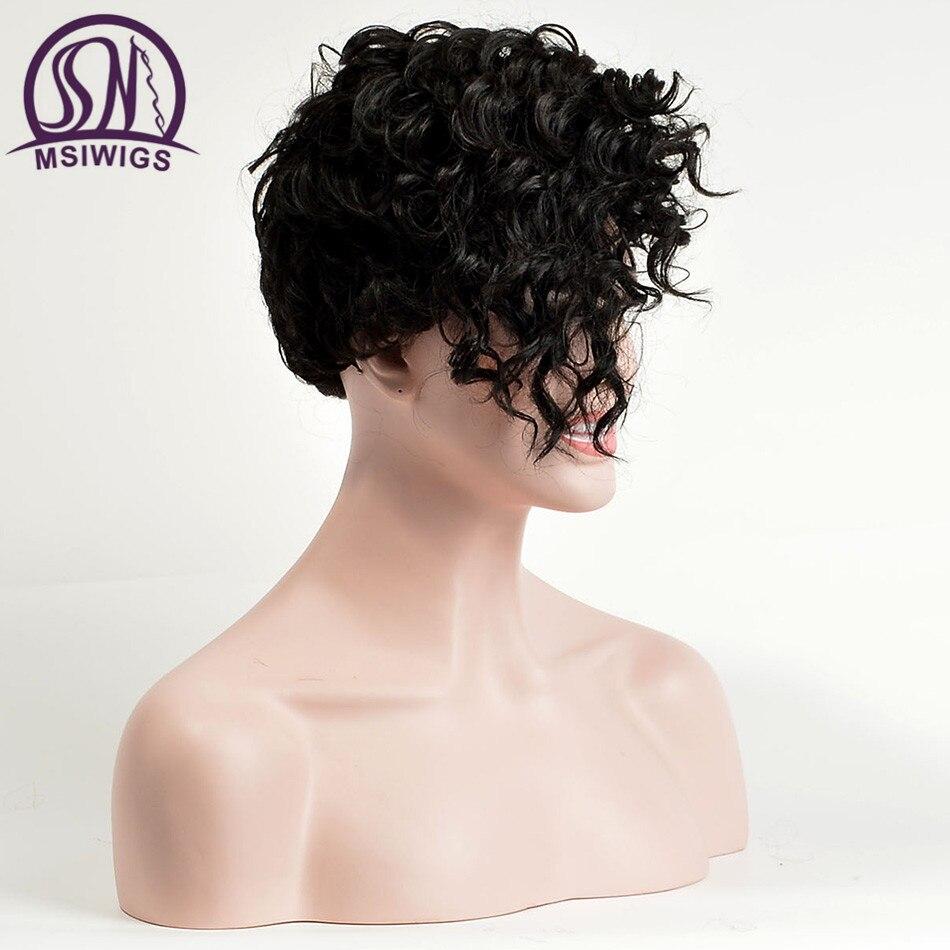 MSIWIGS Front Curly Back Straight Korta Paryk med Bangs Natural Black - Syntetiskt hår - Foto 5