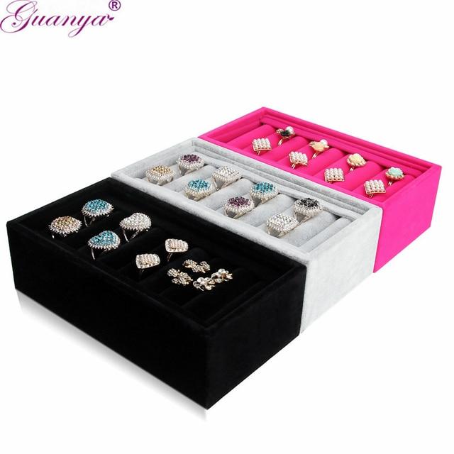 Guanya New Fashion Black Rose Gray Ring Earrings Tray Velvet
