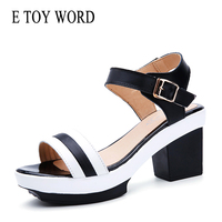 E TOY WORD Women Sandals black white stripes Gladiator Summer Shoes Open Toe Platform Sandals Square Heel Sandals Female 40 43