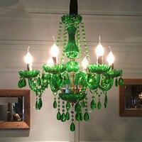 Современные светодиодные Люстра для столовой Спальня Кухня светильники блеск de cristal teto зеленый цвет стекла Люстра