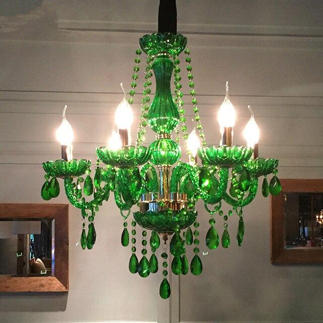 Moderne led kronleuchter für esszimmer Schlafzimmer Küche leuchten glanz de  cristal teto Grün Farbe glas