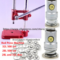 Press Fabric Covered Button Machine/Maker + 28L 32L Fabric Self Cover Button Dies Mold Tools +32L 28L 1000 Set flat Button