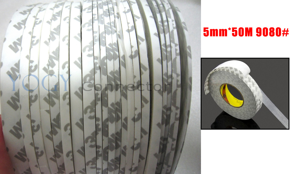 1x 5mm*50 meters 3M 9080 Two Sides Sticky Tape for LED Strip, Auto Strip Adhesive, Phone Display Repair, Common Use 1x 10mm 50 meters 3m 9080 2 sides adhesive tape high temperature resist for led strip auto anti bump strip adhesive