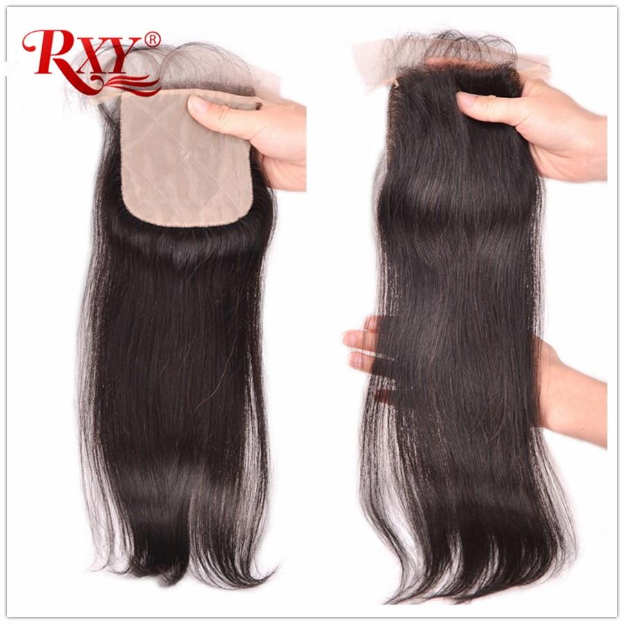 RXY Brazilian Silk Base Closure Silk Top Closure With Baby Hair Hidden Knots Straight Hair Closure Remy Human Hair Extensions