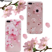 Fashion Pink Sakura Flowers Tronsnic Phone Case Beautiful Cherry Blossom Soft Relief Transparent TPU for iPhone 6 6s plus 7 plus