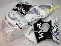 Hot Sales,For Kawasaki fairing Ninja ZX6R ZX 6R 98 99 white black west bodywork kit ZX 6R 636 1998 1999 ZX 636 Motorbike Cowling