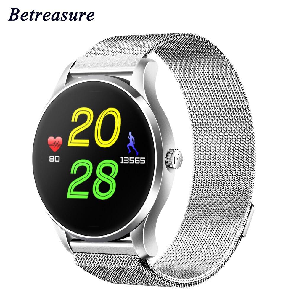 Betreasure K88 Smart Watch Bluetooth Heart Rate Monitor IPSColor Screen Smart Watches Classic Metal Health SmartWatch цена
