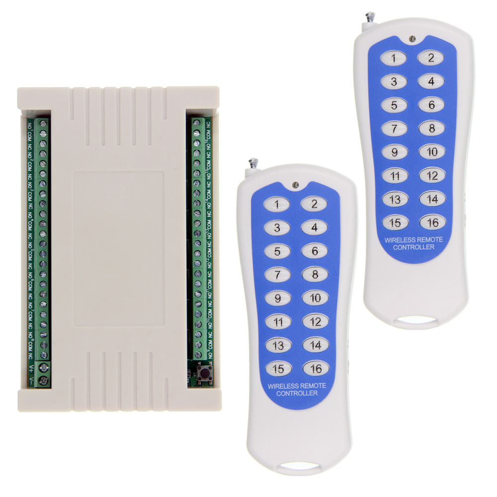 2019 NEW DC 12V 24V 16 CH Channels 16CH RF Wireless Remote Control Light Switch System, (2 Transmitter +1 Receiver),315/433 MHz2019 NEW DC 12V 24V 16 CH Channels 16CH RF Wireless Remote Control Light Switch System, (2 Transmitter +1 Receiver),315/433 MHz