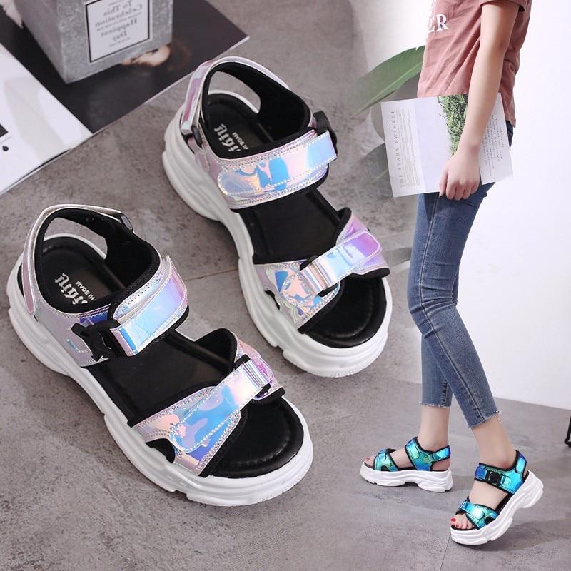 HTB1UoEJM4naK1RjSZFBq6AW7VXam Sexy Open-toed Women Sport Sandals Wedge Hollow Out Women Sandals Outdoor Cool Platform Shoes Women Beach Summer Shoes 2019 New