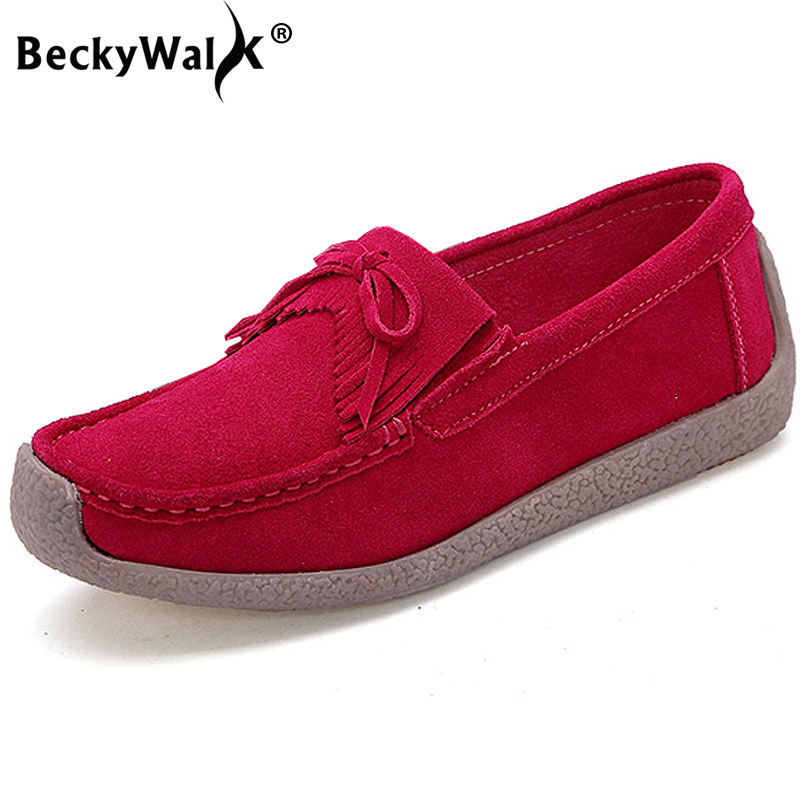 BeckyWalk 2019 Spring   Suede   Genuine   Leather   Women Shoes Tassel Casual Flats Shoes Woman Slip On Lady Shoes zapatos mujer WSH2760