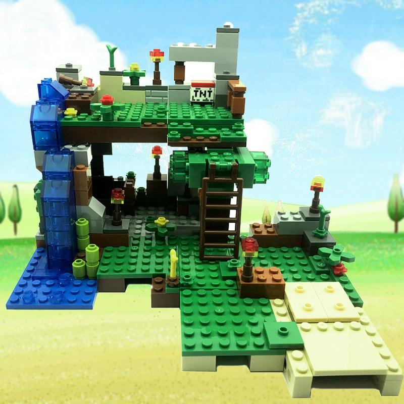 378 шт. 4 в 1 мин Wrold модель строительные блоки маленького размера идущие городские фигурки Dragon кирпичи комплект Развивающие игрушки для Для де...
