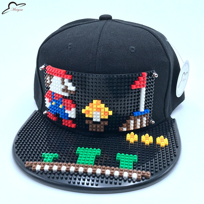 Super Mario Mosaic DIY Outdoor Hip Hop street trend fashion hand gorras adjustable men women Snapback Hat Black Baseball Cap reedoon 1417 trend of the goddess hip hop sunshade sunglasses black golden