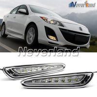 One Set 8 LED Daytime Running Lights DRL Auto Car Driving Front Fog Lamp White Bulb