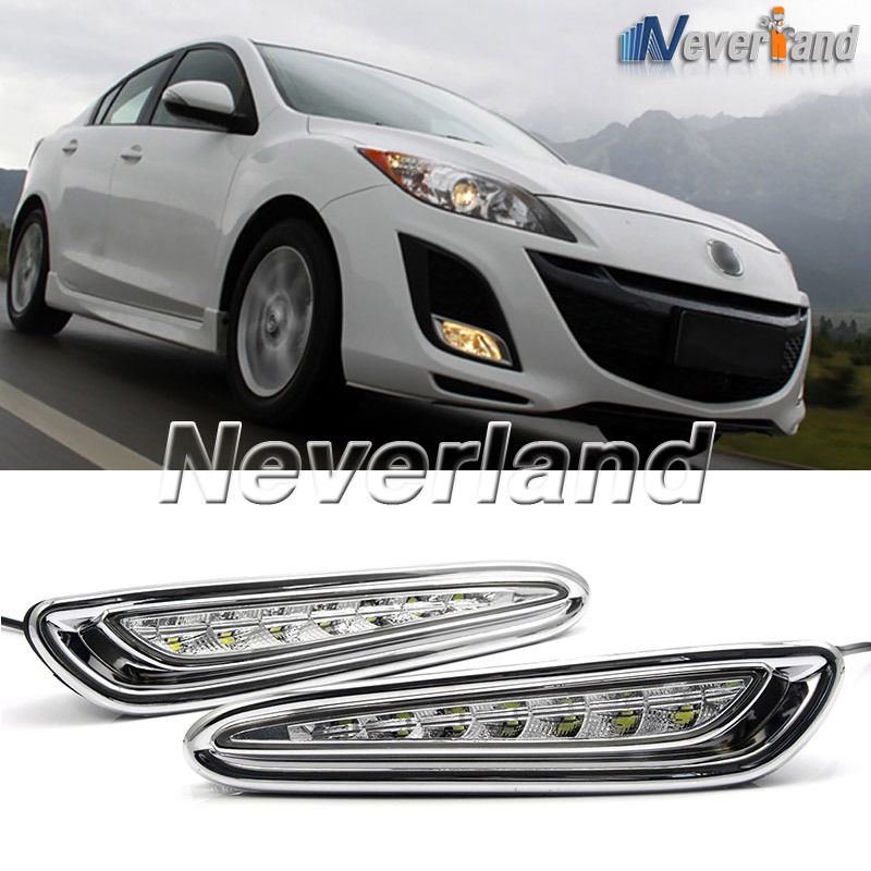 One Set 8 LED Daytime Running Lights DRL Auto Car Driving Front Fog Lamp White Bulb for Mazda 3 2010-2013 D10 brand new set led drl daytime running daylights for bmw f25 x3 2010 2014 front driving bumper fog lights dimmable drl lamp