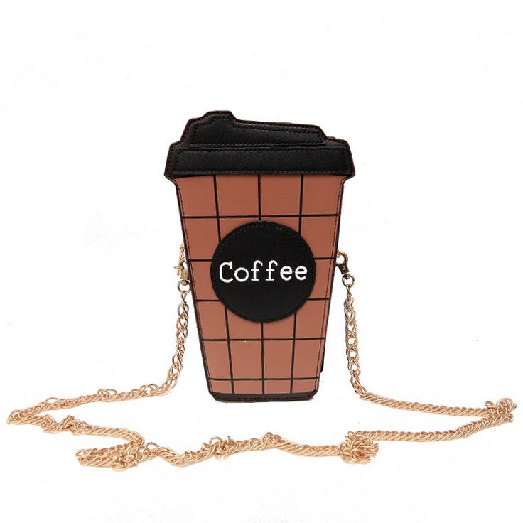 Fun Female bag 2017 New High-quality PU Leather Women Handbags Cartoon Sweet lady Coffee Cup Shoulder bag Chain Messenger bag