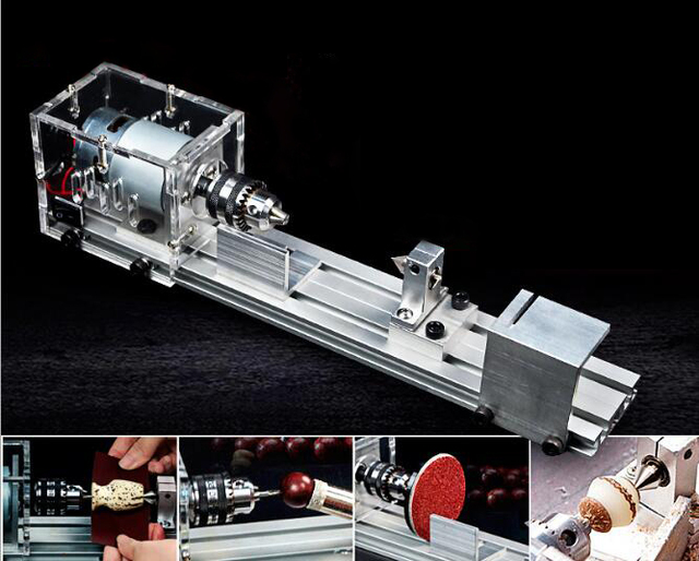 US $59 9 |Mill Mini Lathe Machine DIY Woodworking Buddha Grinding Polishing  Beads Wood Milling Cutters Drill Rotary Tool CNC Vise DC12 24V-in Lathe