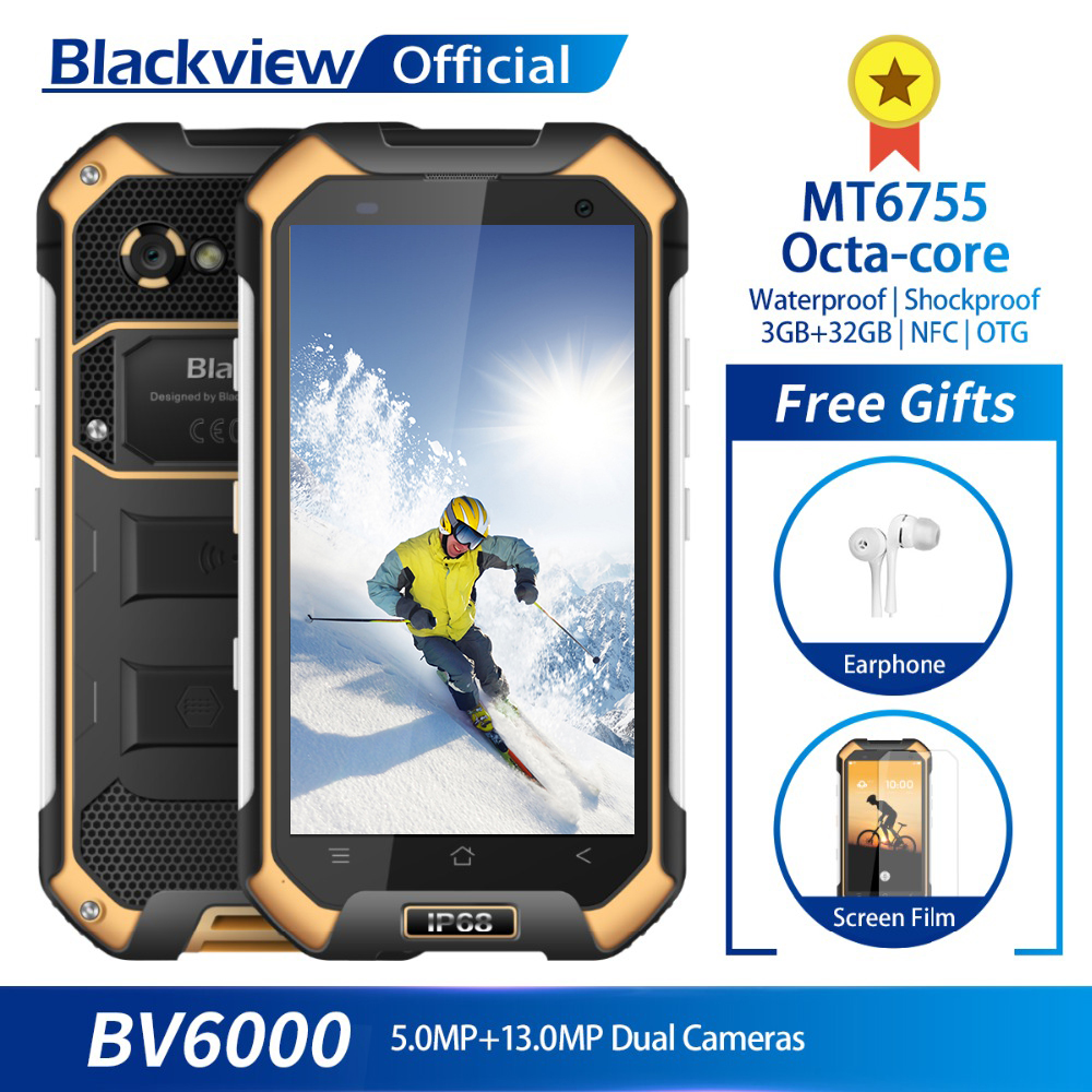 Blackview BV6000 IP68 Waterproof Smartphone 3GB RAM 32GB ROM MT6755 Octa core 13.0MP Camera 4.7inch Mobile Phone 4500mAh Battery-in Cellphones from Cellphones & Telecommunications    1