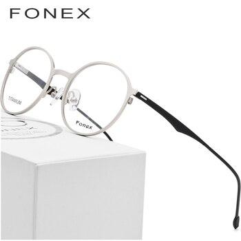 2ea85ef493 FONEX ronda gafas hombres ultraligero de titanio de la aleación de las  mujeres de la miopía óptico anteojos recetados sin tornillos gafas 8821