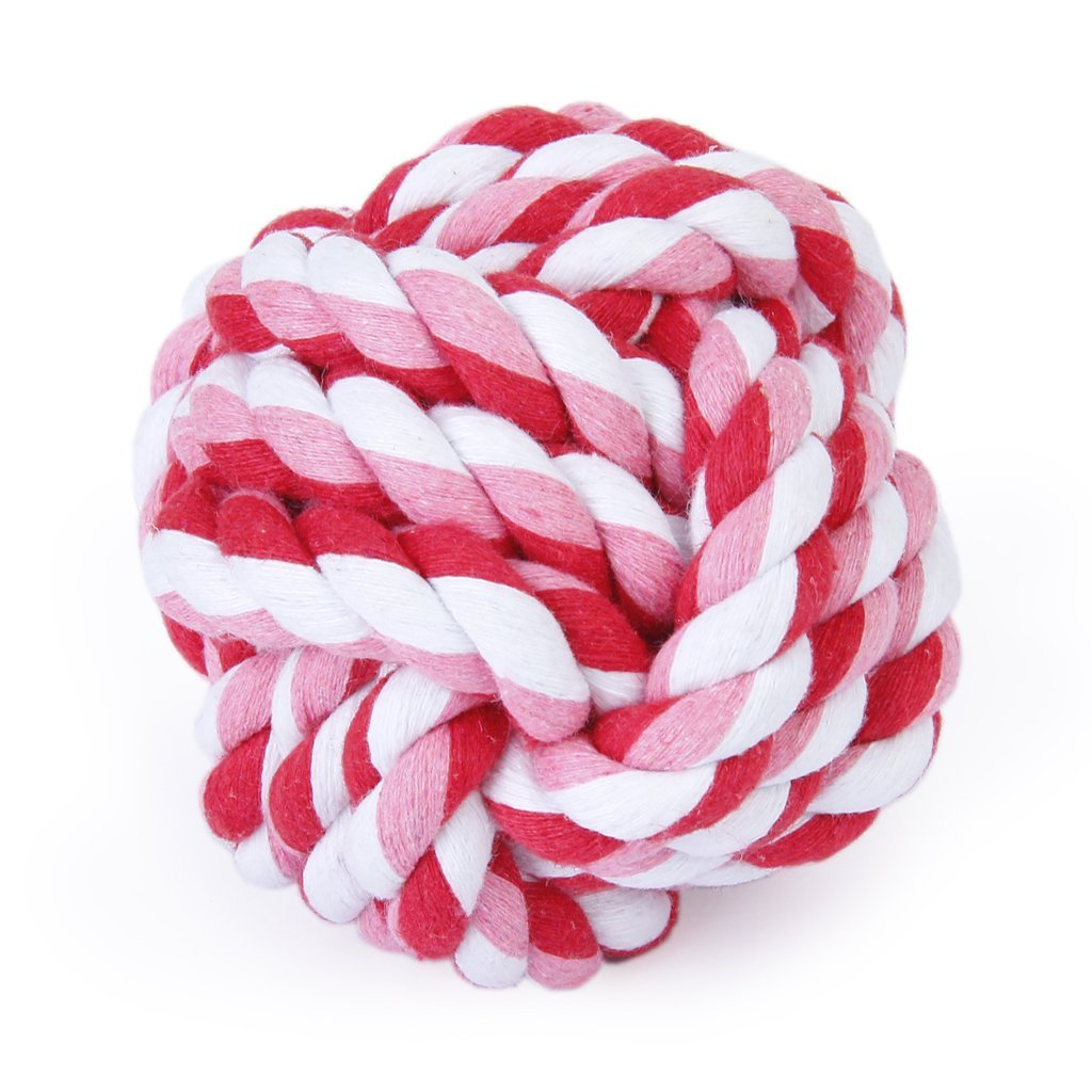 Pet Dog Braided Cotton Rope Knot Chew Toys Games Teeth Clean Balls Diameter 9 cm