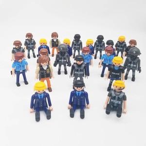 Image 1 - Playmobil 7cm exército polícia militar, figura de ação, modelo, moc, brinquedos, presente para crianças, estilo aleatório para venda x046