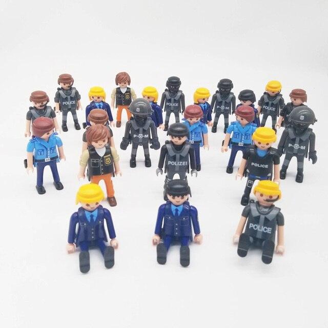 Playmobil 7cm exército polícia militar, figura de ação, modelo, moc, brinquedos, presente para crianças, estilo aleatório para venda x046