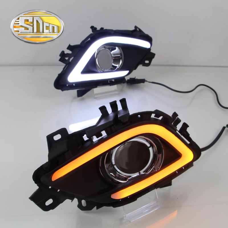 SNCN LED Daytime Running Light For Mazda 6 2013 2014 2015 2016,Car Accessories Waterproof ABS 12V DRL Fog Lamp Decoration led 12v turning signal light drl daytime running light for mazda 6 2013 2014 waterproof abs fog lamp decoration