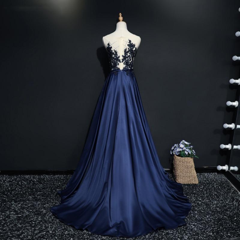 Navy Blue Long Evening Dresses Party Kvinner En Line Skreddersydd - Spesielle anledninger kjoler - Bilde 2