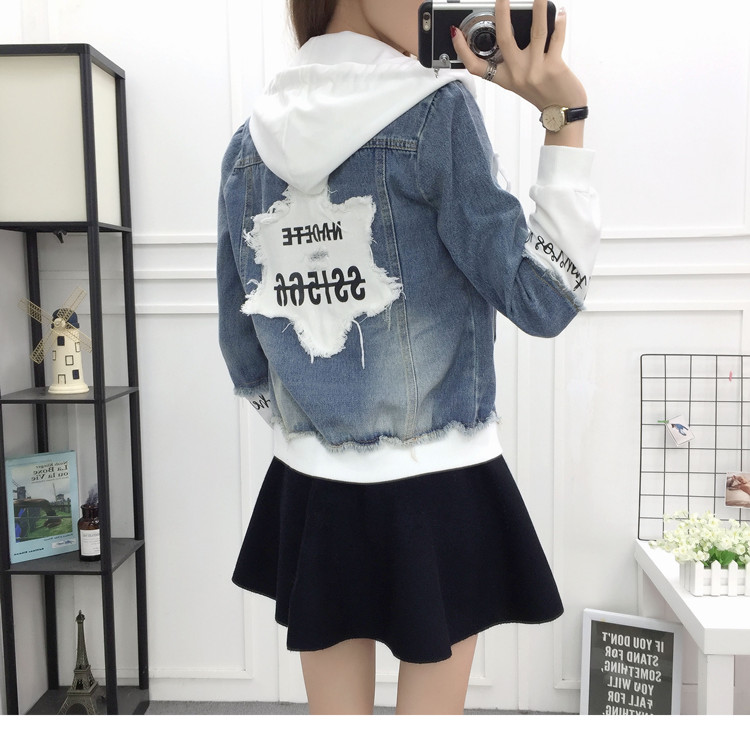 New Autumn Casual Hooded Short Denim Jacket Women Fashion Splicing Patch Coat Plus size Pockets Loose Jackets Jeans Coat Female 52