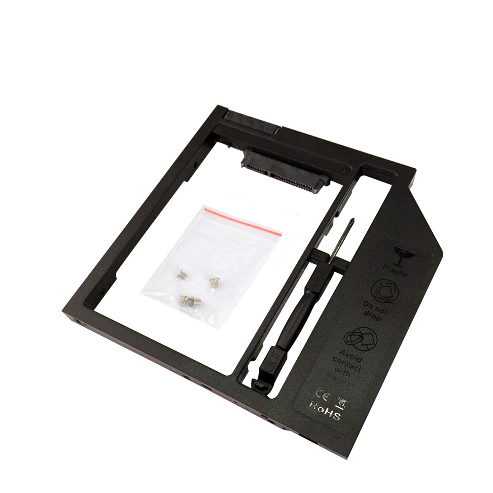 Universal Plastic 9mm 2nd Hdd Caddy Hard Disk Drive Enclosure 25 Ssd Case For Laptop 95mm Dvd Cd Rom Optical Bay