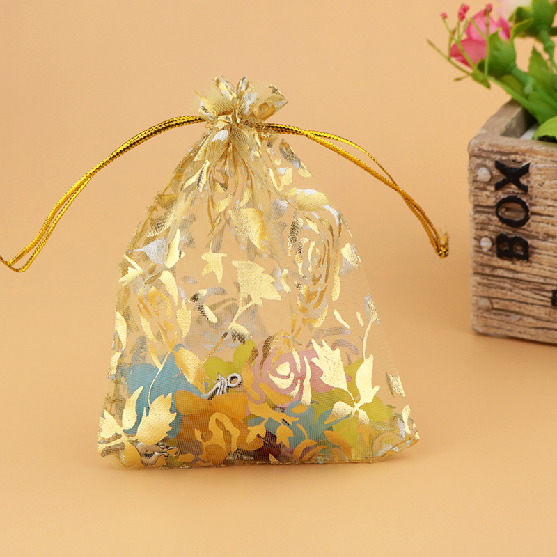 Wholesale 500pcs High Quality 20x30cm Big Organza Bags Gold Color Wedding Favor Candy Gift Bag Boutique Jewelry Packaging Bags