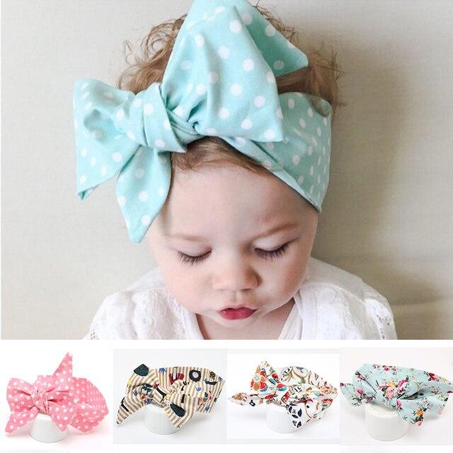 cute dot fabric flowers baby turban haarband diy big bow newborn