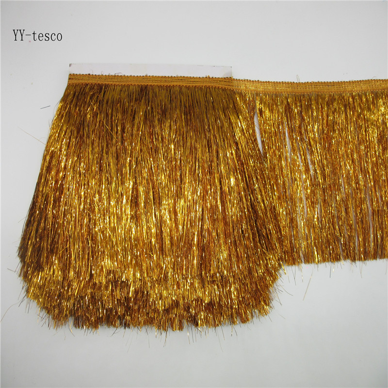 YY-tesco 1 Yards 20cm Wide Gold Lace Fringe Trim Tassel Fringe Trimming DIY Latin Dress Stage Clothes Accessories Lace Ribbon