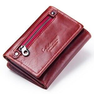 Image 2 - Модный короткий кошелек Contacts для женщин, маленький бумажник из натуральной кожи с rfid защитой и застежкой, кредитница, бумажники для женщин