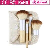 Skineat Professional Makeup Brush Set 4 Pcs Kit Soft Synthetic Foundation Powder Blush Linen Cup Holder